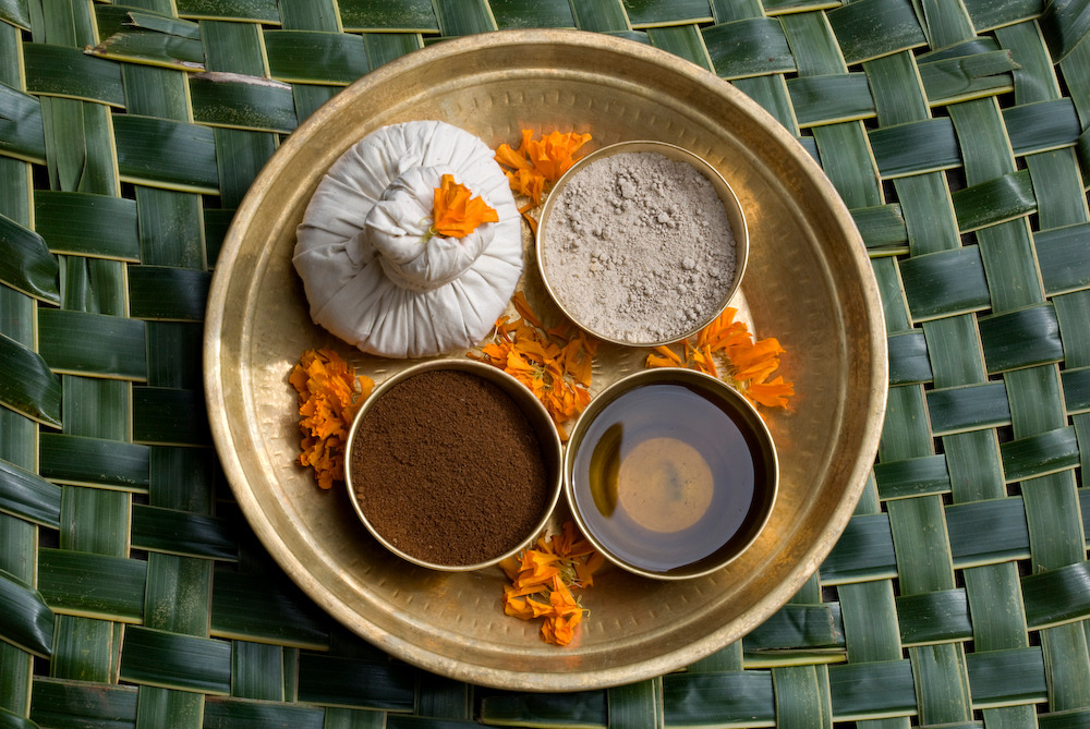 Ayurvedic ingredients platter